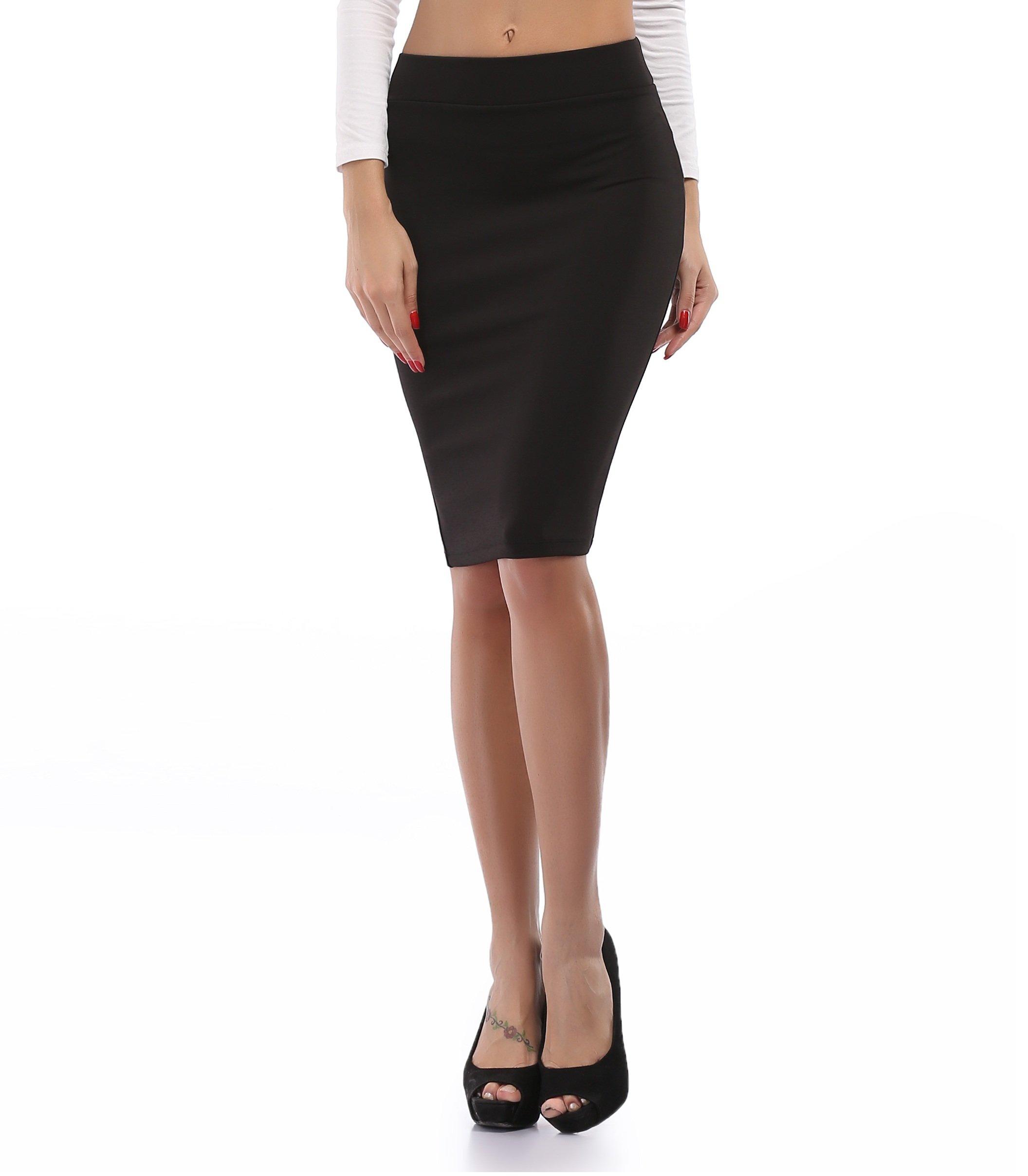 Women's Stretch High Waist Mini Skirt Pencil Skirt Short Dress Stretchy Fabric,Black,Small