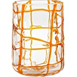 Impulse Abstract Rocks Hand-Crafted Glass, Orange, Set of 4