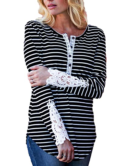 67dac0848 Sweetnight Women Tops Button Down Striped Casual Loose Fit Tunic Blouse  Shirts Black S