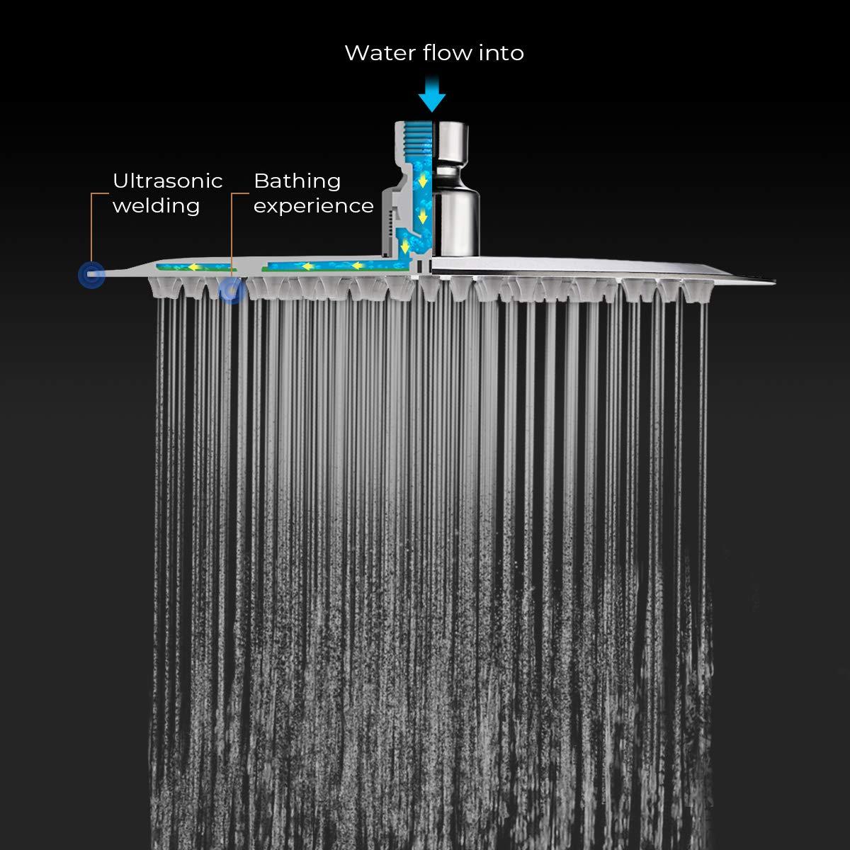 TAPCET Soffione doccia//Soffione cromato Acciaio inossidabile in acciaio inox 304 in acciaio inox superiore Disegno 8 pollici tondo,solo soffioni