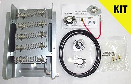3403585 dryer heating element, thermal fuse, hi limit, 92\