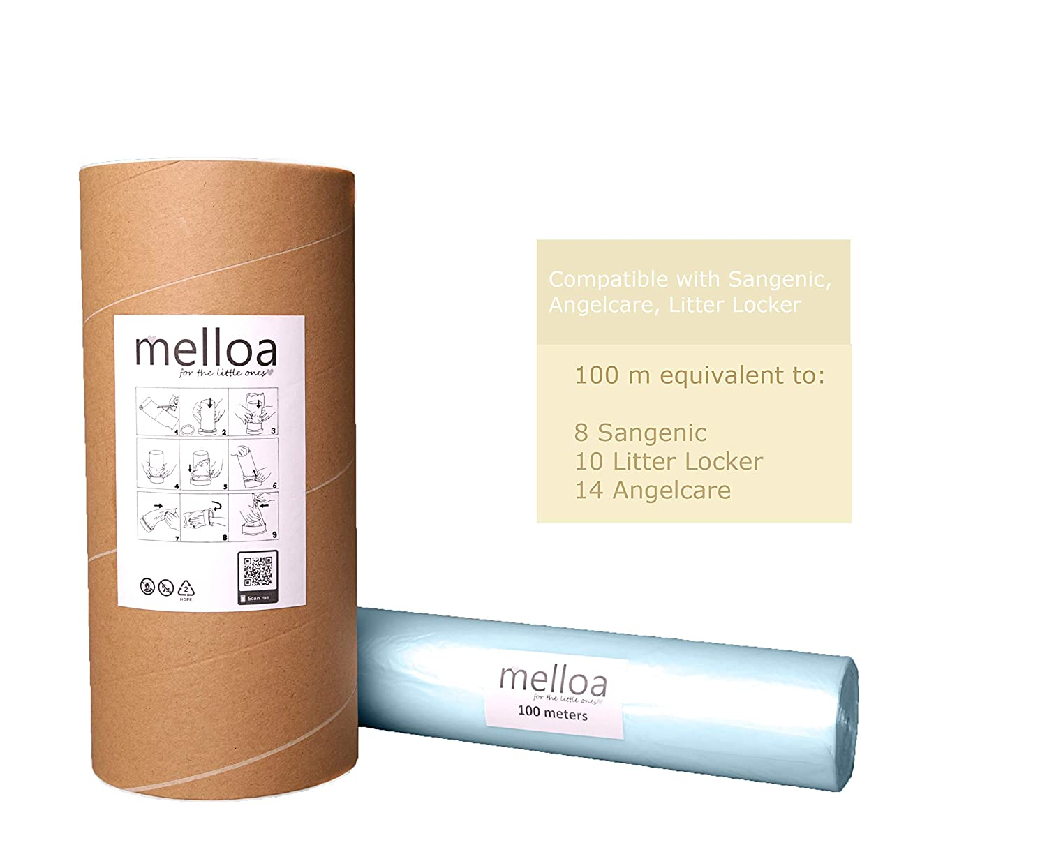 Litter Locker II 100m, Blue Angelcare ECO Universal Melloa Nappy Bin Liners Compatible with Nappy Disposal Systems : Tommee Tippee Sangenic Tec  Twist and Click