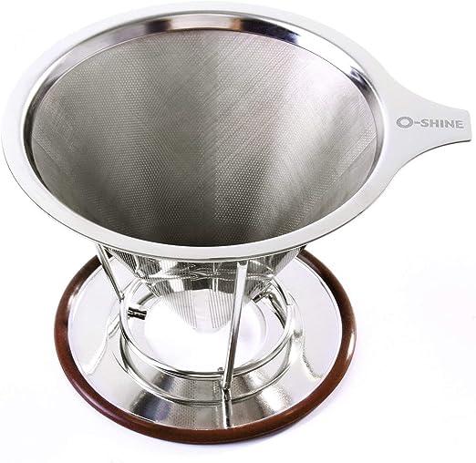 Sookg Miss Coffee Pour Over Coffee Dripper - Filtro de café reutilizable de acero inoxidable y cafetera sin papel con soporte para taza: Amazon.es: Hogar