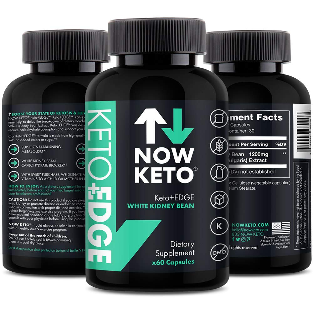 NOW KETO® Keto+Edge White Kidney Bean Supplement Capsules   Best Ketosis Supplement to Block Carbohydrate Absorption   Delays in The Breakdown of Dietary Starches   60 Capsules