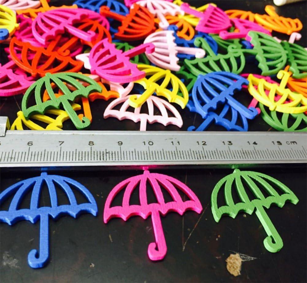 Da.Wa Lot de 100/boutons en bois color/é en forme de parapluie Pour enfants DIY