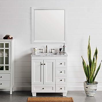 Amazon Com Eviva Evvn69 30wh Acclaim 30 White Transitional W Carrara Top Bathroom Vanities Furniture Decor