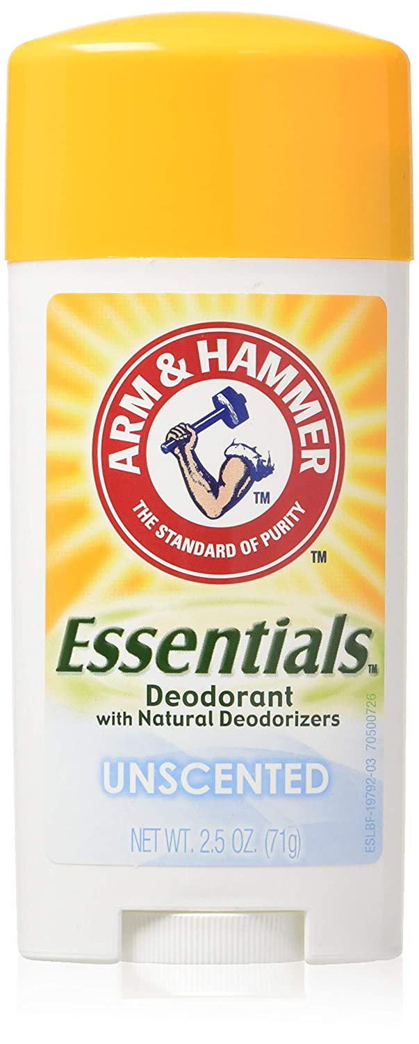Arm & Hammer Essentials Natural Deodorant Solid, Unscented, 2.5 Ounce (Pack of 3) DL-110B