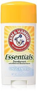 Arm & Hammer Essentials Natural Deodorant, Unscented 2.5oz (Pack of 3)