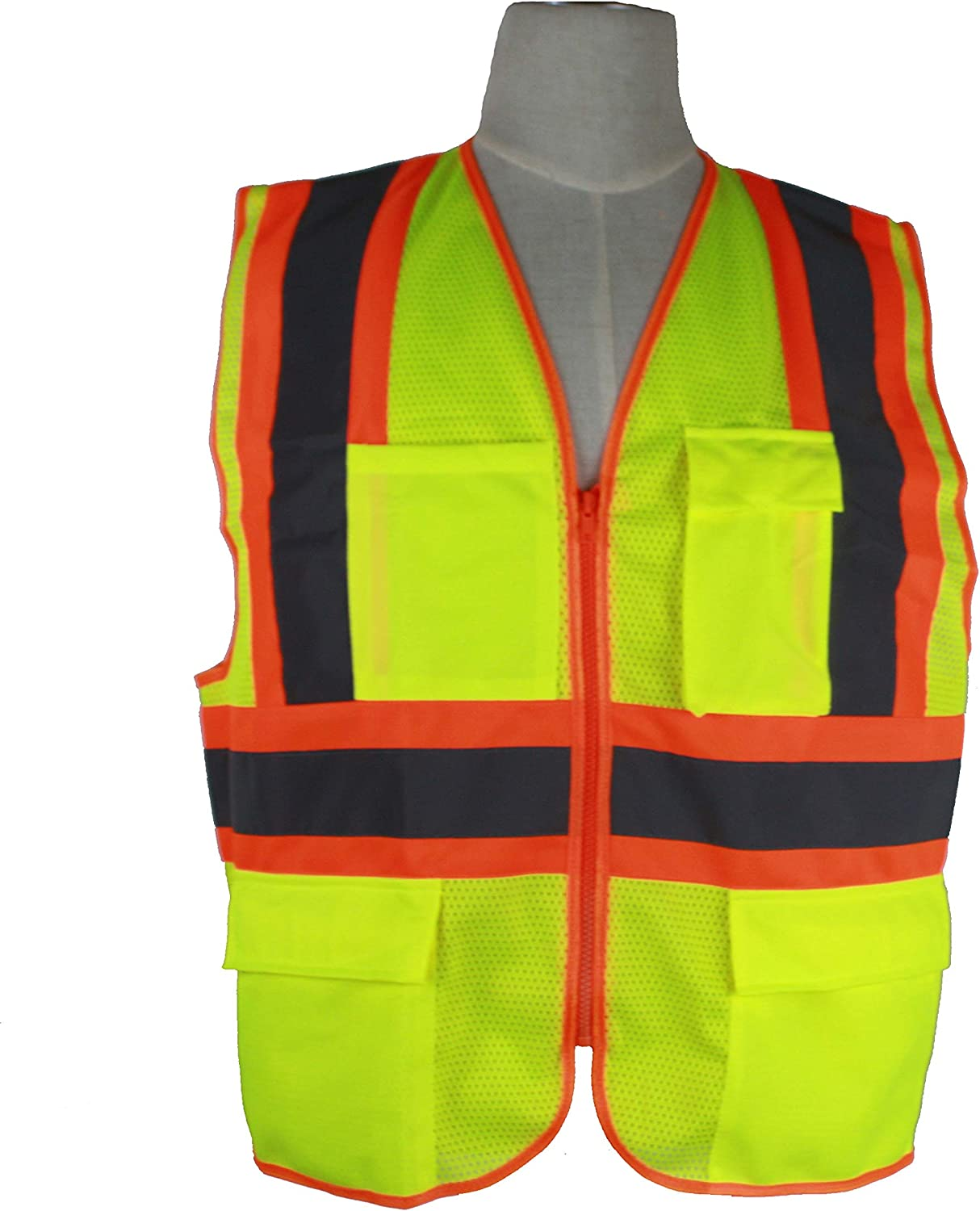 Hi Vis Safety Vest Night High Visibility Workwear Pocket Fluro Tricot Jacket