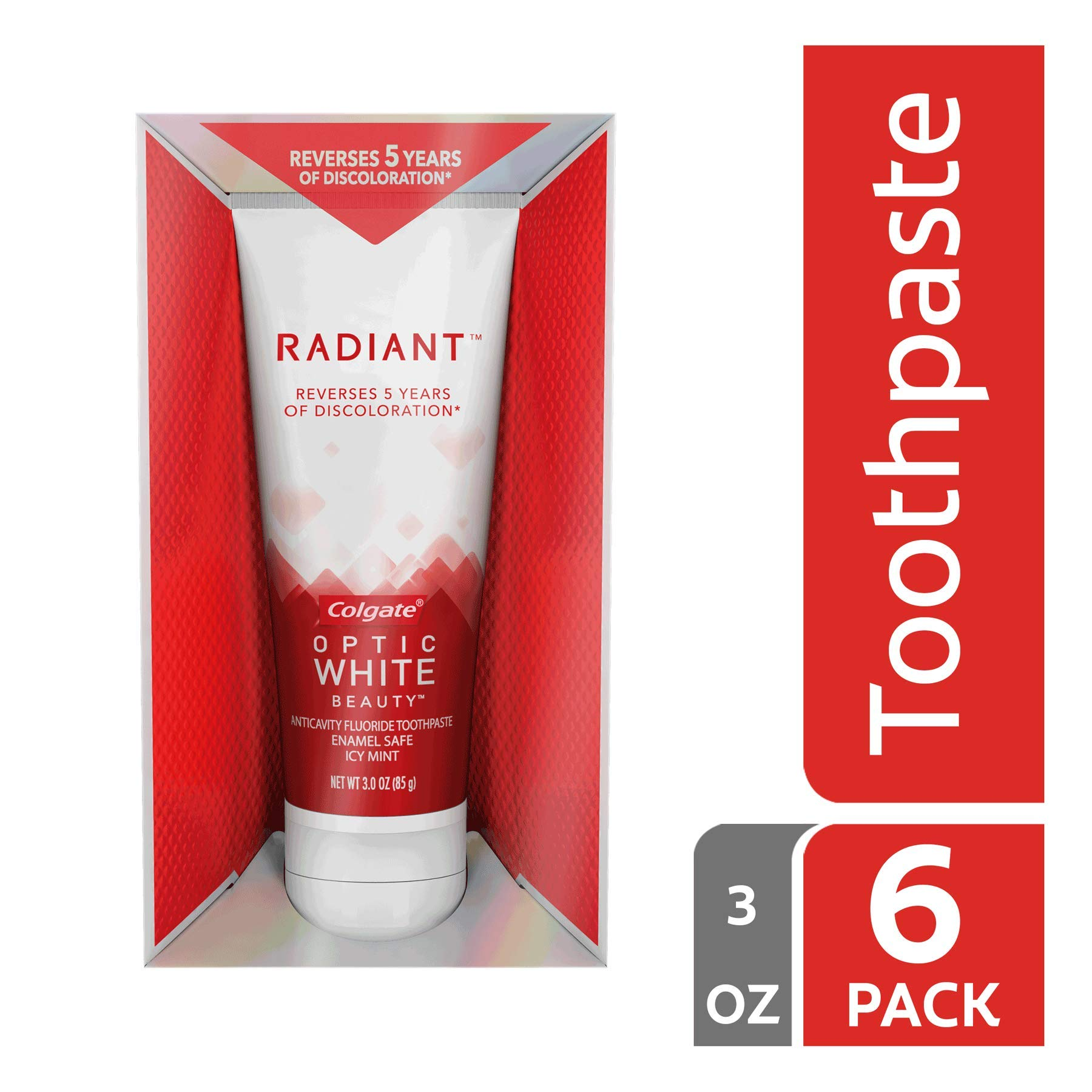 Colgate Optic White Radiant Whitening Toothpaste - 3 ounce (6 Pack)