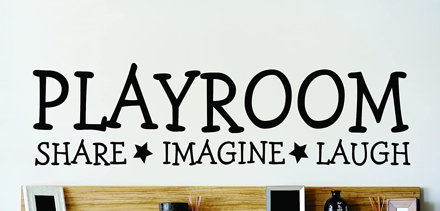 Design with Vinyl OMG 362 Black Playroom Share Imagine Laugh Quote Lettering Decal 12 x 30 Inch Black