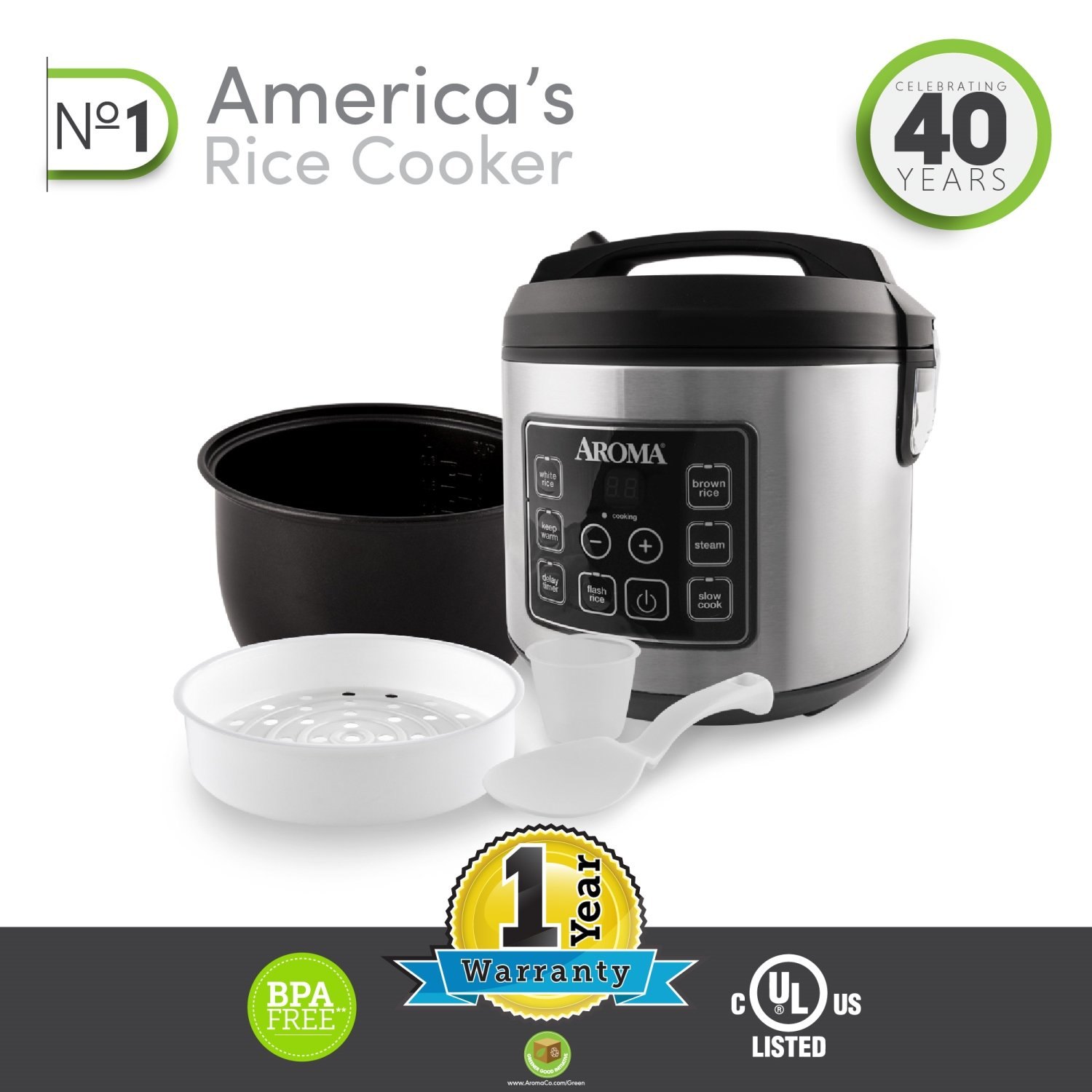 Aroma Housewares 20 Cup Cooked (10 cup uncooked) Digital Rice Cooker, Slow Cooker, Food Steamer, SS Exterior (ARC-150SB) by Aroma Housewares (Image #6)