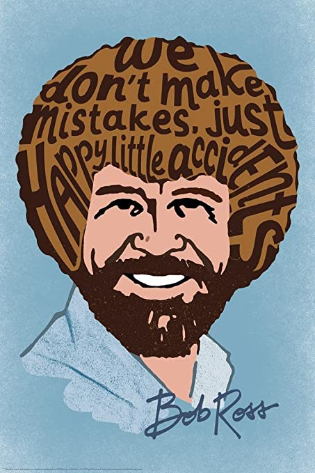 824f75a94fc43 Bob Ross Happy Little Accidents Word Art Print Mural Giant Poster 36x54 inch