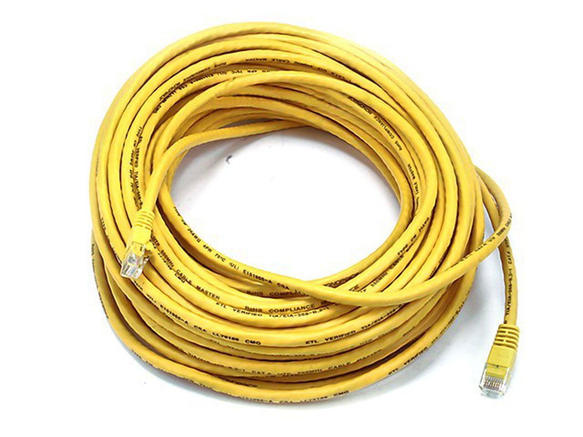 Monoprice Cat6 Ethernet Patch Cable Network Internet Inter Wire White 550mhz 24awg On Connector Wiring Cord Rj45 Stranded Utp Pure Bare Copper 75ft Yellow Computers