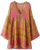 Paule Trevelyan NEW bohemian new retro praia vestido solto moda imprimir mini vestido estilo praia doce
