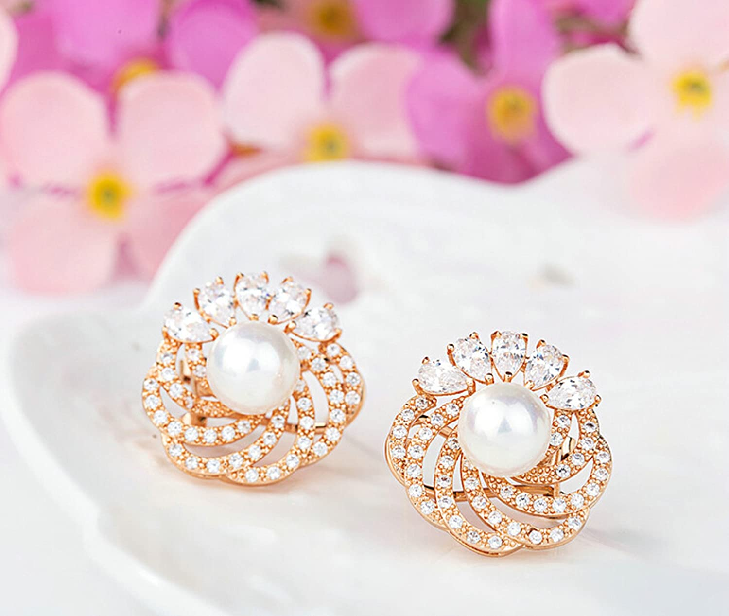 Gnzoe Jewelry Women Rose Gold Plated Stud Earring White Cubic Zirconia Hollow Design Round Pearl 19.7x19MM