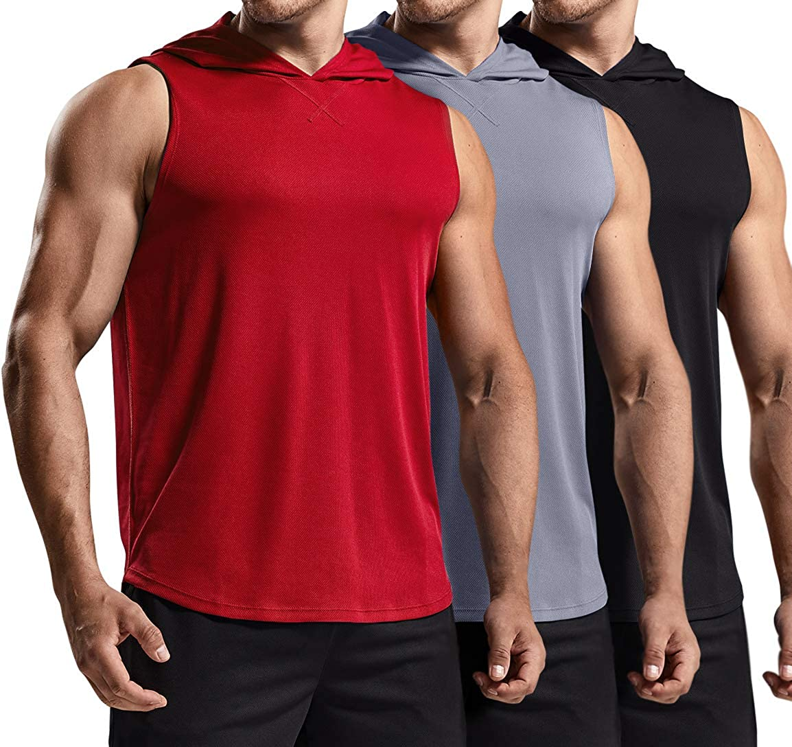 TSLA 3 Pack Men's Muscle Tank with Hoodie, Cool Dry Active Athletic Running Shirts, Lightweight Workout Gym Performance Top
