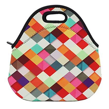 3644fb7bbcaf Neoprene Lunch Bag Insulated Lunch Box Tote for Women Men Adult Kids Teens  Boys Teenage Girls Toddlers (Colorful Rhombus)