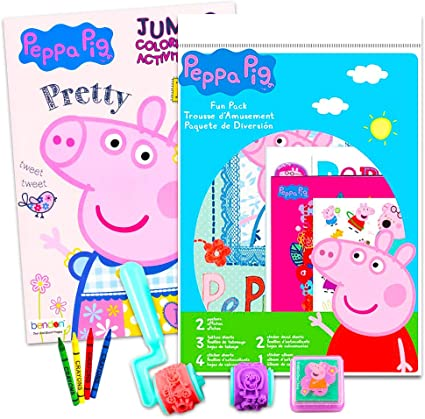 Amazon.com: Peppa Pig Coloring Book Set Stickers And Crayons: Toys & Games