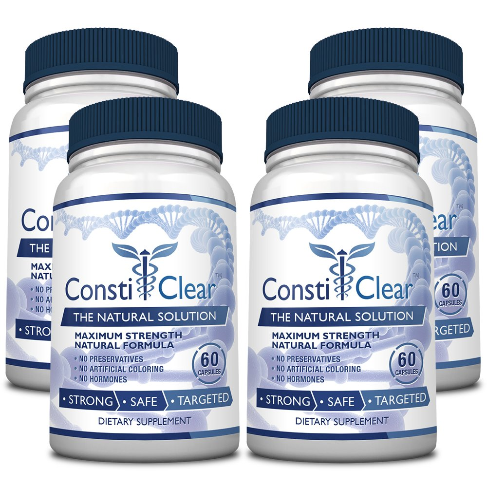ConstiClear - #1 100% Natural Constipation Relief Supplement - Treats the Underlying Causes of Constipation & Supports Healthy Gut Flora for Long-Term Prevention - 100% Money Back - 4 Bottles Supply