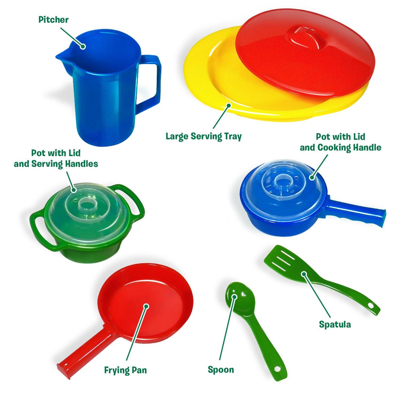 Amazon.com: Kidzlane Toy Pots and Pans Kitchen Accessories, Durable ...
