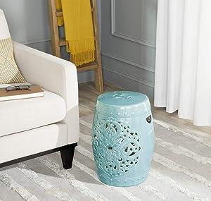 Safavieh Flora Glazed Ceramic Decorative Garden Stool, Blue