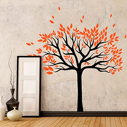 Amazoncom Modern Nursery Fall Tree Wall Decal Living Room Kids