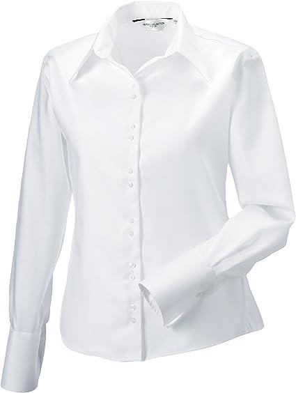 manga larga de última camisa no necesita plancha de la mujer: Amazon.es: Hogar