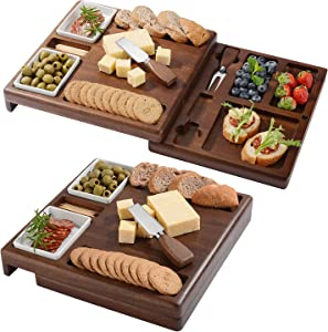 Wooden Serving Board for Cheese, Food Serving Platter, Cheese Board with Cutlery Set (13,88