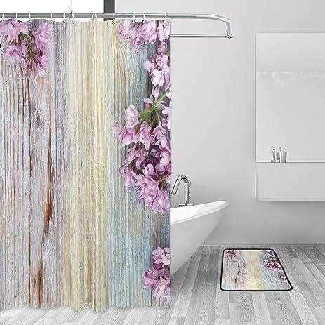 Fresh Lilac Flowers Vintage Wooden Pattern Shower Curtain Doormat Set By  YZGO, Waterproof Mildew Resistant