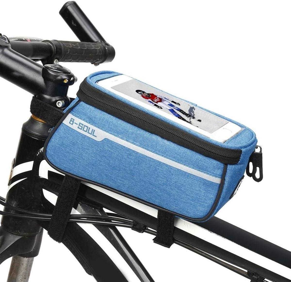 Rojo DaMohony Bolsa de Marco Frontal para Bicicleta Bolsa de Almacenamiento Resistente Al Agua para Tel/éfono M/óvil por Debajo de 6 Tel/éfono de 5 Pulgadas.