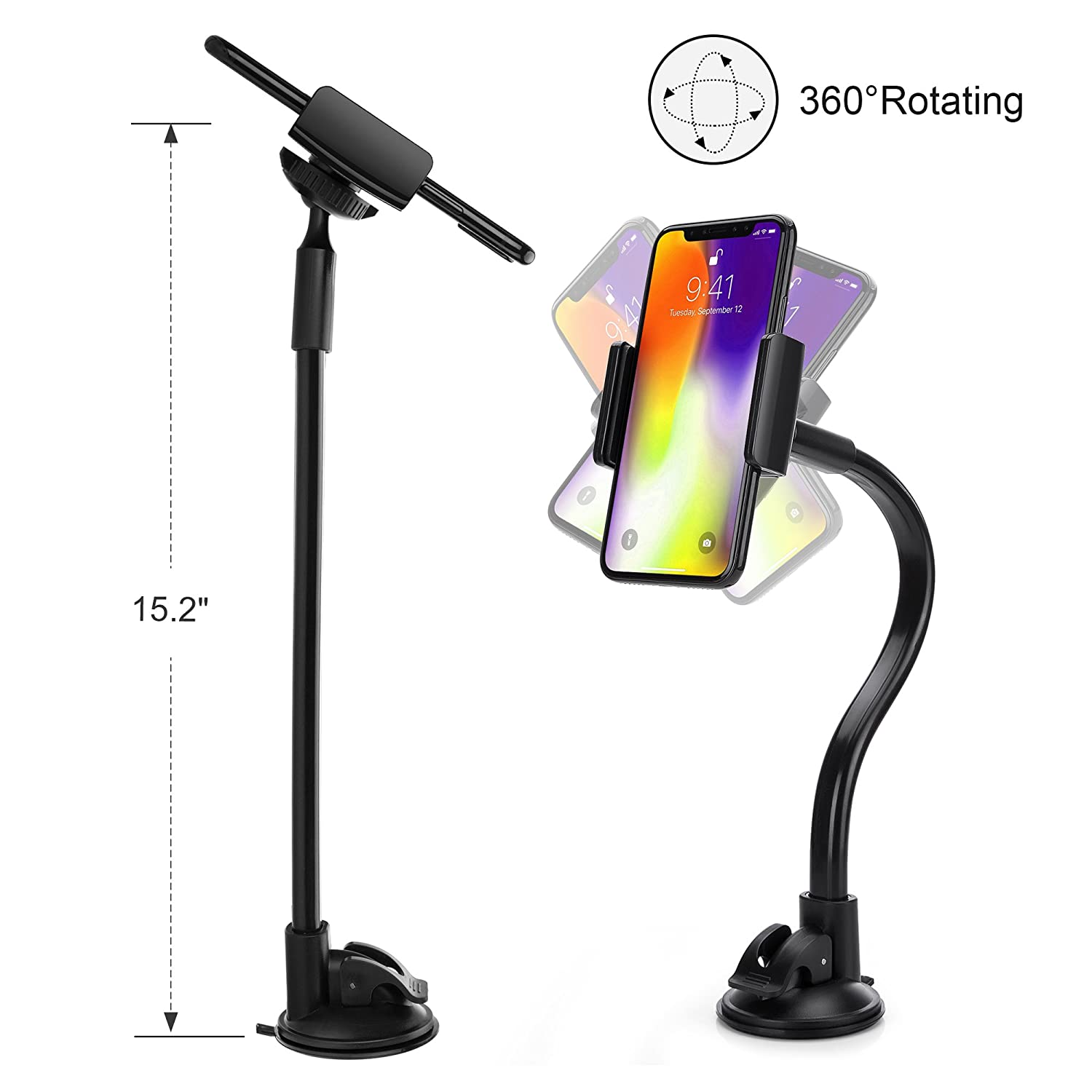 3.5-8 inch AboveTEK Long Arm Universal Car Phone Mount Holder Easily Fits iPhone 5//6//6S Plus Windshield // Dashboard Smartphone Cradle with Two Clamps - Secure Suction Cup CH200A iPad Tablet Samsung