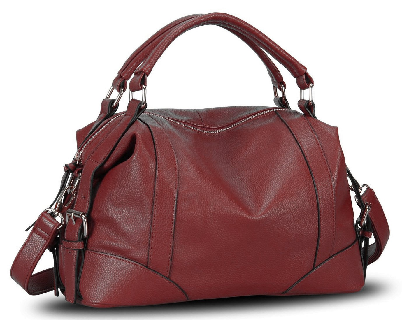 Mn&Sue Punk Motorcycle PU Leather Top Handle Boston Barrel Slouchy Hobo Satchel Convertible Doctor Purse (Wine Red)