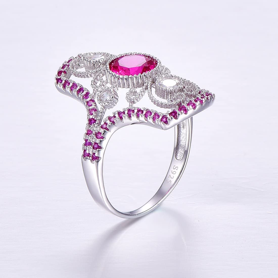 Auzeuner Women Milgrain Lab-Created Ruby 925 Sterling Silver Cocktail Ring