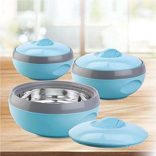 Asian Venus Plastic Casserole Set, 3-Pieces, Blue