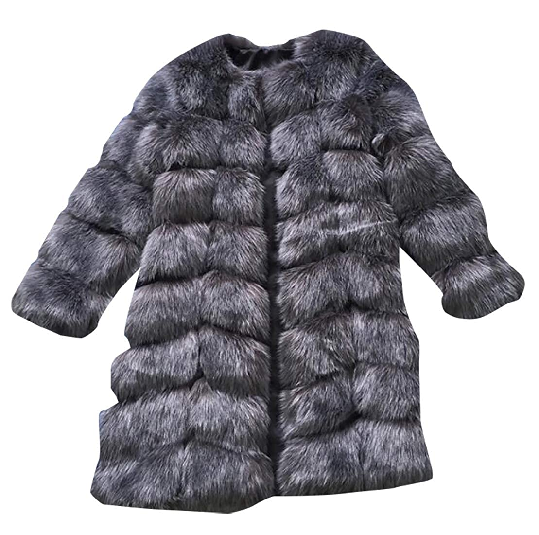 4 Sanderso Womens Faux Fur Coat Parka Jacket Trench Warm Thick Outerwear Overcoat