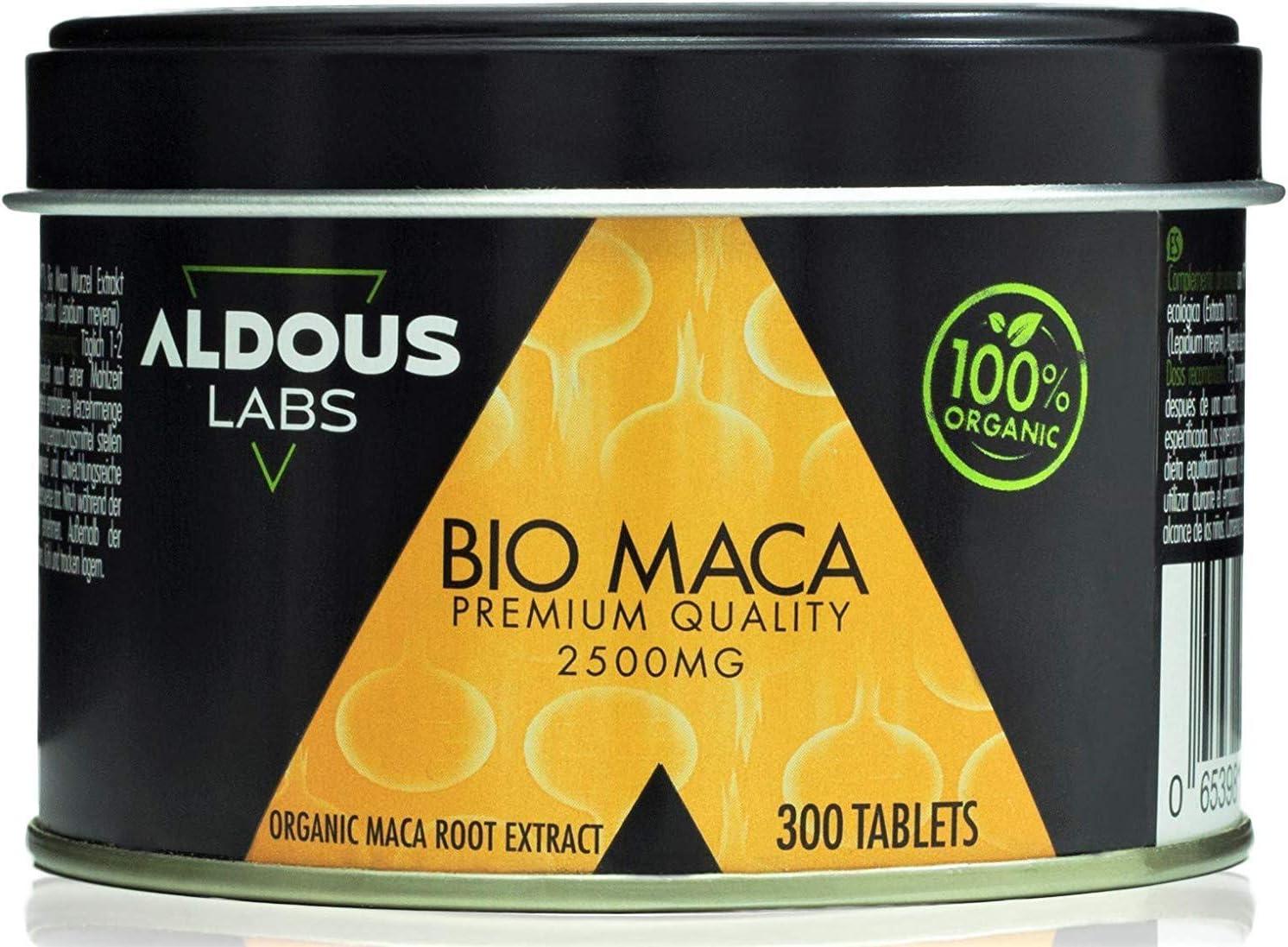 Extracto de Maca Andina Ecológica Premium para 9 meses | 300 comprimidos de 2500mg | Altamente concentrada 10:1 | Aumenta Energía y Vitalidad | Libre de Plástico | Certificación Ecológica Oficial