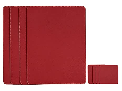 Nikalaz Set Of Red Placemats And Coasters, 4 Table Mats And 4 Coasters,  Italian