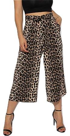 f5dfe95544d9 Momo&Ayat Fashions Ladies Tie Front Leopard Print Culotte Wide Leg Trousers  UK Size 6-14