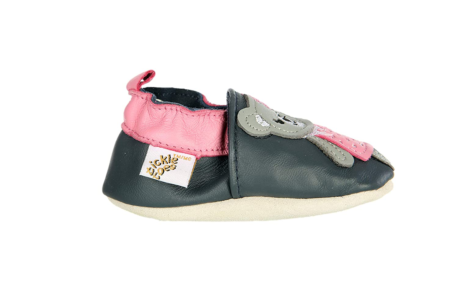 06-12 Tickle Toes Navy Pink Teddy Bear Soft Leather Shoes 6797