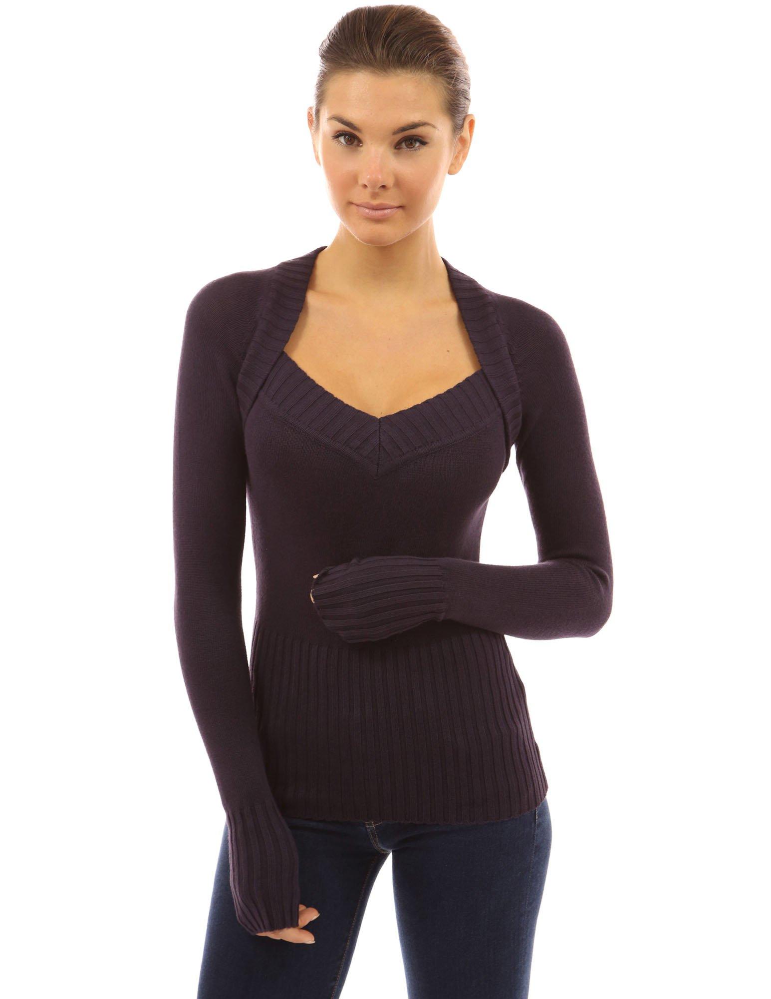 PattyBoutik Women's 2 in 1 Style V Neck Sweater (Dark Purple M)