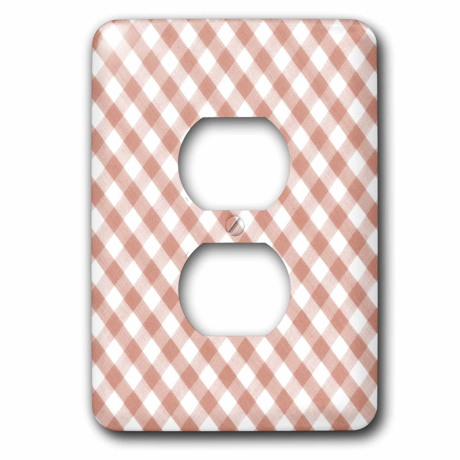 3dRose Lsp_113026_6 Brown and White Gingham Pattern Traditional Checkered Rustic Checks Retro Country Kitchen Dining 2 Plug Outlet Cover