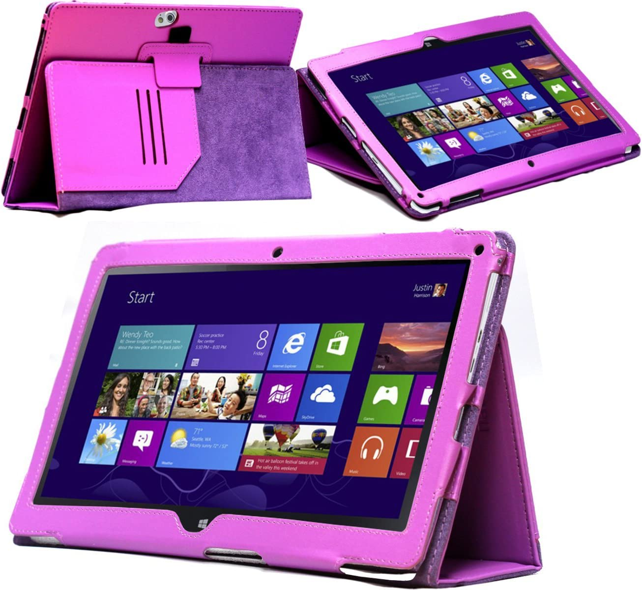 Navitech Purple Faux Leather Carry Case/Cover with Stand & Hand Strap Compatible with The Acer Iconia W510p W5 Windows RT