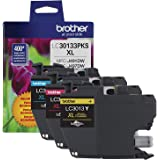 Brother Printer Genuine LC30133PKS 3-Pack High Yield Color Ink Cartridges, Page Yield Up to 400 Pages/Cartridge, Includes Cya