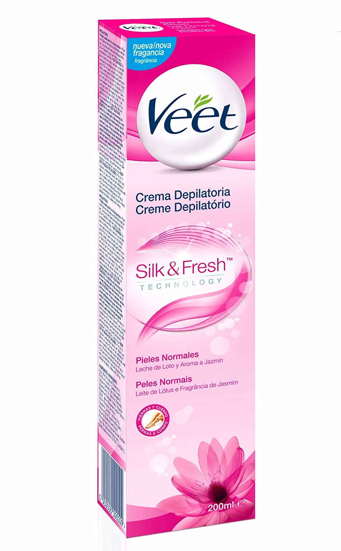 Veet Silk & Fresh, Crema Depilatoria para Pieles Normales con Leche de Lotto y Fragancia de Jazmín - 200 ml: Amazon.es: Salud y cuidado personal