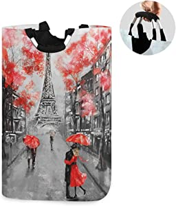 ALAZA Large Laundry Hamper Basket France Paris Eiffel Tower Laundry Bag Stylish Collapsible Oxford Cloth Home Storage Bin with Handles, 22.7 Inch