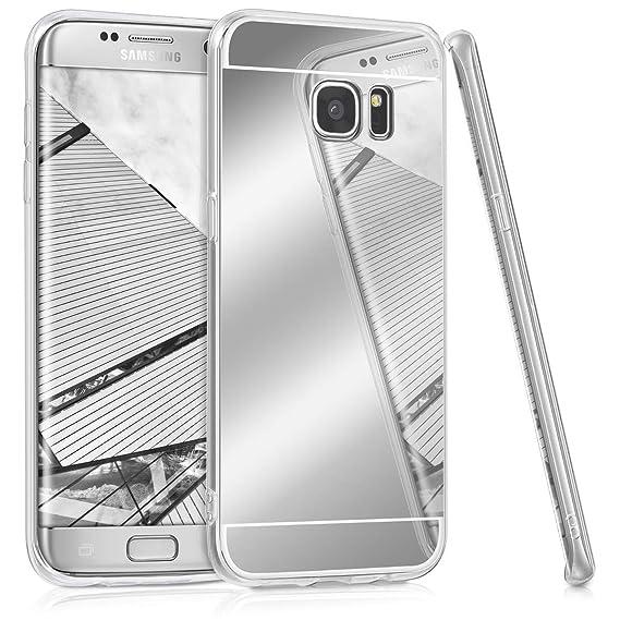 new product 4c60e 78e18 kwmobile Mirror Case for Samsung Galaxy S7 Edge - TPU Silicone Bumper  Protective Cover Reflective Back Case - Silver Reflective