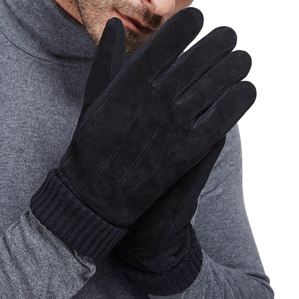 LETHMIK Mens Black Winter Gloves Suede Leather Knit Cuff with Warm Thick Fleece Lining Black