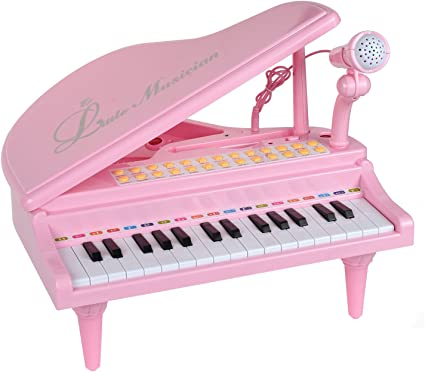 Girls Kids Musical Piano Pink Electronic Keyboard Toy With Microphone