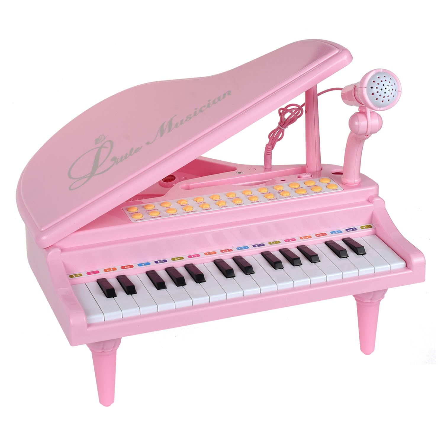 BAOLI 31 Keys Little Pink Piano for Girls with Microphone Electronic Organ Music Keyboard for Kids
